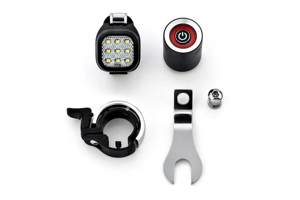 EMKY Bikes city set KNOG Blinder Mini Niner - Gaciron W10 - KNOG Oi small bell